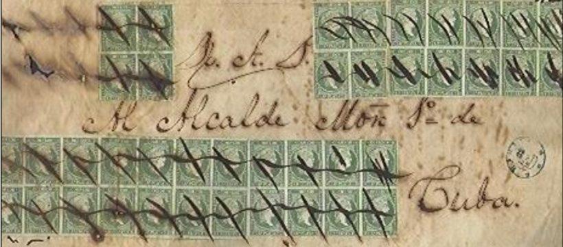 Las cancelaciones y marcas manuscritas en la primera emision de sellos de Cuba.