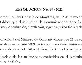 Nuevas Emisiones 2021 Aniversario XL del Atlas Nacional de Cuba, Primero de Mayo y Enteros Postales por el Día de los Padres.