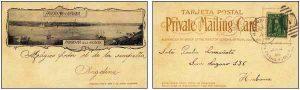 tarjeta postal ilustrada mostrando la bahía de la Habana y el logo en su reverso Private Mailing Cards. Emitida durante la ocupación norteamericana por M. Ruiz y Ca (Editor privado de la habana) (Imagen de cubamuseo.net)